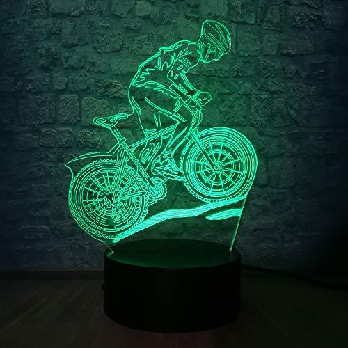 Sport Fahrt Fahrrad Mann Acryl Nachtlicht LED 7 Farben USB 3D Illusion Tischlampe Für Zuhause Dekorative Luminar Als Kinder Spielzeug Jungen Geschenk
