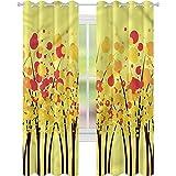 Cortinas opacas para dormitorio, color amarillo, para otoño, otoño, bosque, 42 x 72, cortinas decorativas para sala de estar