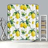 Rubyia Duschvorhang 90x180, Zitrone 3D Muster Anti Schimmel Duschvorhang, Polyester, Weiß Gelb