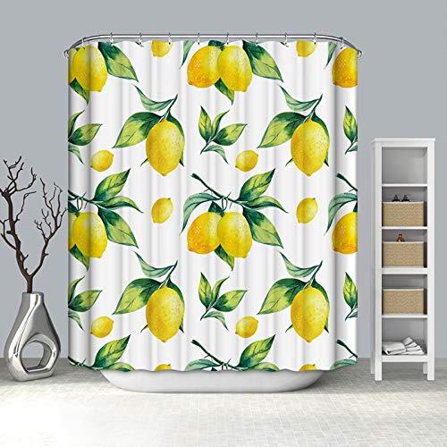 Rubyia Duschvorhang 120x180, Zitrone 3D Motiv Duschvorhang Antischimmel Waschbar, Polyester, Weiß Gelb