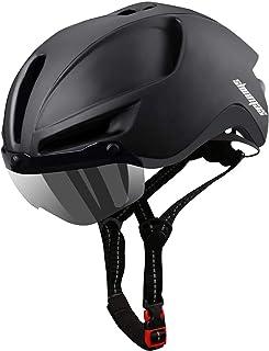 Shinmax Casco Bicicleta,Casco Bicicleta Adulto para con Magnética Visera,Casco MTB con Luz LED Recargable & Cuerda de Segu...