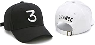 2 Pack Fashion Embroider Baseball Chance Caps Hats Cool Baseball Rapper Caps with Number 3, Rock Hip Hop Classic Casquette with Adjustable Strap, Cotton Sunbonnet Plain Hat, White and Black