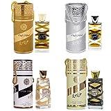 Lot de 4 Parfum Oud Mood 100 ML de Lattafa Parfum Unisex, Attar Halal, Notes: Musc blanc, Cassis, Bergamote, Pommes, Florales, Balsamique, Ambré, Musqué, Boisé