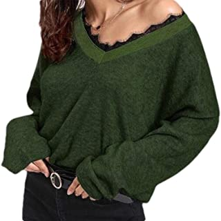 Winwinyou Women Floral V Neck Solid Lace Stitching Fashion Pullover Sweater Top