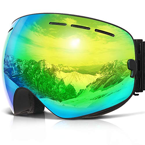 COPOZZ G1Ski-/Snowboardbrille, beschlagfrei, UV-Schutz, Helm-kompatibel, auswechselbare Gläser, Black Frame/Gold Lens (VLT 18.4%)