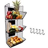 3 Tier Hanging Wire Basket - Wall Mounted Storage Bins with Adjustable Chalkboards and S-Hooks - Fruit and Pantry Organization - Heavy Duty Iron Metal - Gift Box