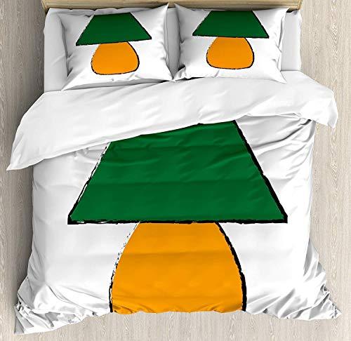 Miwaimao Diseño de Muebles de Escritorio Bicolor Verde y Naranja con inspiraciones Grunge,Juego de Ropa de Cama con Funda nórdica de Microfibra y 2 Funda de Almohada - 240 x 260 cm