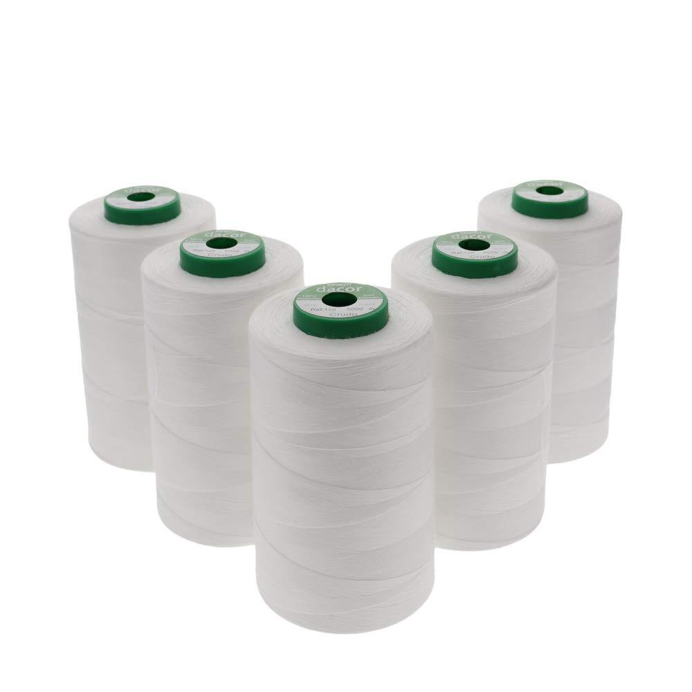 Sewfil dacor 120-5 conos de hilo de coser de poliéster - Pack de 5 bobinas (5 x 5000 metros) - Blanco natural: Amazon.es: Hogar