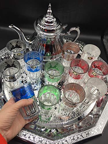Juego de té marroquí Completo, Tetera con Filtro Integrado 1.6ml + Bandeja XL 50cm plateada hexagonal con asas de 60cm...