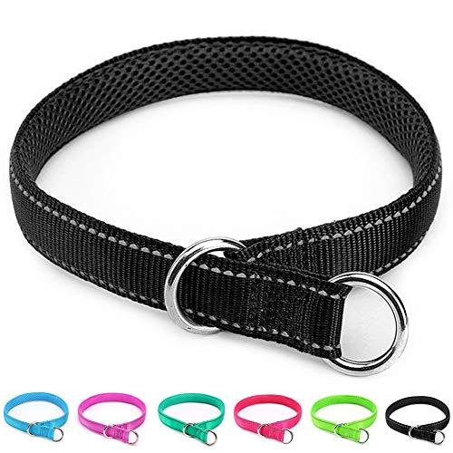 Mycicy Reflective Dog Choke Collar, Soft Nylon Training Slip Collar for Dogs (5/8' W x 14' L, Black)