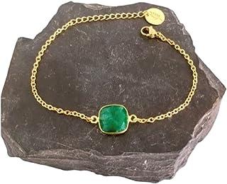 Bracelet émeraude, Bracelet femme gourmette pierre émeraude plaqué or 24 k, bracelet doré, idée cadeau, bracelet émeraude,...