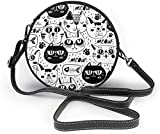 BAODANLA Bolso redondo mujer Black and White Cat Faces Pattern Women Soft Leather Round Shoulder Bag Zipper Circle Purses Sling Bag