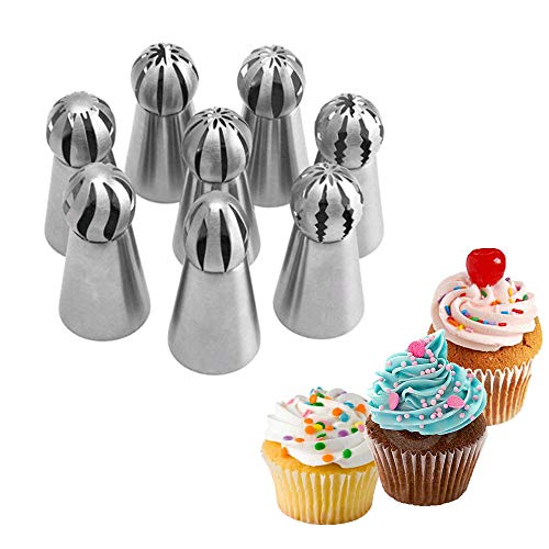 Hofumix ロシアンパイピングチップ ケーキデコレーションキット ベーキングツール アイシングパイピングチップセット ステンレススチールボールチップ ベーキング用品 DIY バタークリーム ケーキ フォンダン カップケーキデコレーション 8個