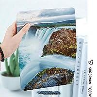 iPad 2/3/4 対応 2つ折りケース スタンド機能 オートスリープ超薄型 傷つけ防止ケース 手帳型カバー 環境にやさしい材質アイスランドの滝劇的な風景画像夕景