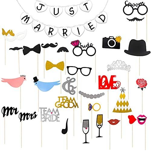 Hochzeit Photo Booth Requisiten, Hochzeit Props, JUST MARRIED Banner Weiss Herz, Fotorequisiten Hochzeitsdeko, DIY Fotorequisiten, Hochzeit Requisiten Dekorationen,Dekoration für Hochzeitszeremonie