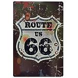 MARQUISE & LOREAN | Chapas Decorativas Metálicas para Pared Ruta 66 | Incluye Papel Burbuja Súper Protección y Cuerda para Colgar | Carteles Decoración Vintage Route 66 | 30 x 40 cm | Bullet Shooting