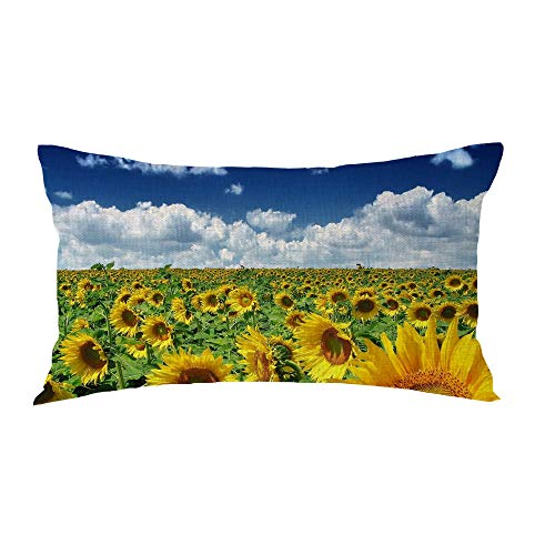 Bnitoam Sunflower Blue Sky Lumbar Best Gift for Family Friends Decorative Throw Pillow Case Cushion Cover Cotton Blend Linen Pillowcase for Bed Couch Outdoor Sofa 12x20inches (Yellow)