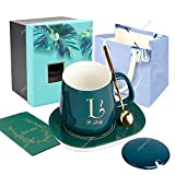 UHAPEER Coffee Mug Cup Set,Printed Alphabet Mugs with Warmer Pad, Ceramic Lid, Spoon,Temperature Control Heating Coaster, Greeting Card,Gift Box for Christmas (Green Lucky)