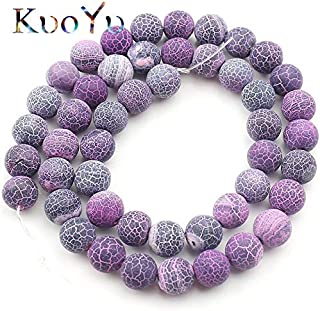 Natural Stone Beads, Natural Stone Frost Purple Cracked Dream Fire Dragon Veins Agates Onyx Beads Matte Round Loose Beads for Jewelry Making 6/8/10Mm - (Dia:10Mm 36Pcs Beads)