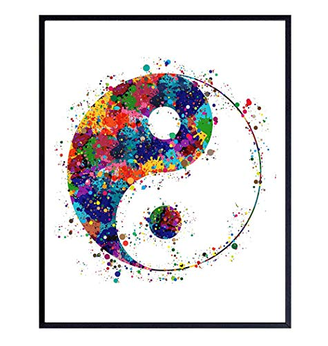 Yin Yang Inspirational Zen Watercolor Art Print - 8x10 Unframed Photo - Motivational Gift for Meditation, Buddha Fans, Buddhists - Unique Spiritual New Age Home Decor