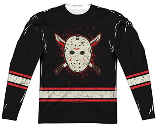 A&E Designs Friday The 13th Jason Voorhees Jersey Long Sleeve Sublimation (Front & Back), 2XL White