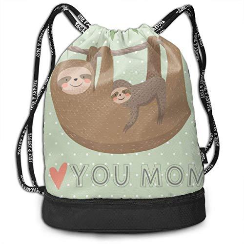 XCNGG Zaino con coulisse I Love You Mom Card Con Simpatico Sloth Zaino Multifunzionale Zaino Con Scomparto Scarpa Borsa Per Uomini Donne Adolescenti Nuoto Sport Palestra