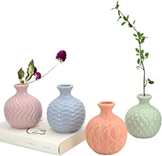 GeLive Ceramic Ikebana Vase, Flower Arrangement, Decorative Bud Hydroponics Container, Reed Diffuser (Colorful 4 Pack)