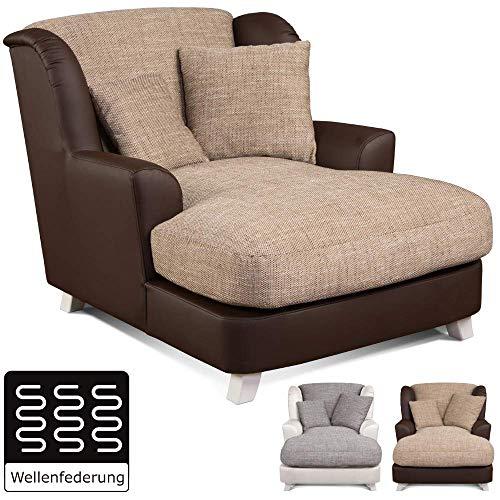 Cavadore XXL-Sessel Assado / Zweifarbiger Polstersessel mit Holzfüßen und großer Sitzfläche /...