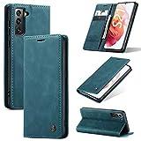 KONEE Hülle Kompatibel mit Samsung Galaxy S21 5G, Lederhülle PU Leder Flip Tasche Klappbar Handyhülle mit [Kartenfächer] [Ständer Funktion], Cover Schutzhülle für Samsung Galaxy S21 5G - Blaugrün