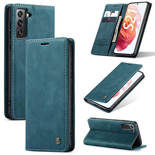KONEE Custodia Compatibile con Samsung Galaxy S21, Pelle Premium Magnetica Flip Custodia [Slot per schede] Antiurto Portafoglio PU Cover per Samsung Galaxy S21 5G - Blu-verde
