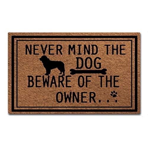 Maplehome rolig dörrmatta inomhus halkfri entré golvmatta rolig dörrmatta Never Mind The Dog se upp för ägaren unik design dörrmatta utomhus gummimatta icke-vävd tygtopp gummibaksida 40 x 60 cm