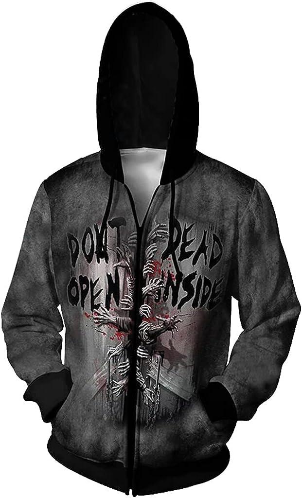 Halloween New Walking Dead 3D Sweater Digital Print Hooded Cardigan Men's Loose Personality Spoof Sweater Men