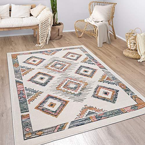 Tappeto Soggiorno Pila Corta Modello Geometrico Skandi Boho Stile Moderno, Dimensione:120x170 cm, Colore:Multicolore 3