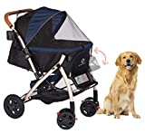 HPZ Pet Rover XL Extra-Long Premium Heavy Duty Dog/Cat/Pet Stroller Travel Carriage with Convertible Compartment/Zipperless Entry/Pump-Free Rubber Tires for Small, Medium, Large Pets (Midnight Blue)