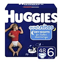Huggies Overnites nighttime diapers size 6 fit babies 35+ lb. (16+ kg) Our Most Absorbent Diaper – Help your child get a full night's sleep with extra absorbency & Double Leak Guards that offer up to 12 hours of protection DryTouch Liner – Soft, dura...