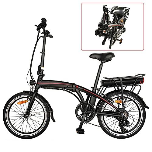 CM67-F039 Elektro Faltrad 20 Zoll Klappräder E-Bike Aus Alu Quick-Fold-System 7 Gang Faltfahrrad Elektro Folding Bike Elektro Mit LED-Licht Ebike Damen Herren Load Capacity 120KG