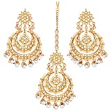 Aheli Bollywood Ethnic Chandbali Style Big Earrings Maang Tikka Set Traditional Fashion Jewelry for Women (White)