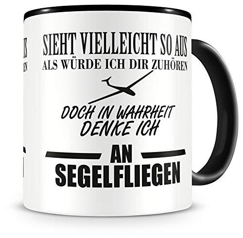 Samunshi® Ich denke an Segelfliegen Tasse Kaffeetasse Teetasse Kaffeepott Kaffeebecher Becher H:95mm/D:82mm schwarz