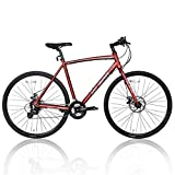 Hiland Road Hybrid Bike Urban City Commuter Bicycle with Disc Brake for Men Comfortable Bicycle 700C Wheels 24 speeds Bikes Red