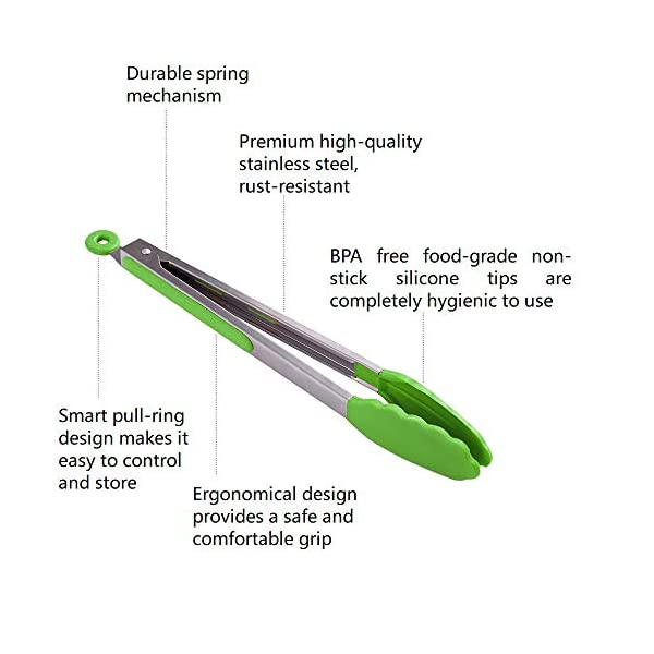 HiramWare Kitchen Tongs (Green) 2