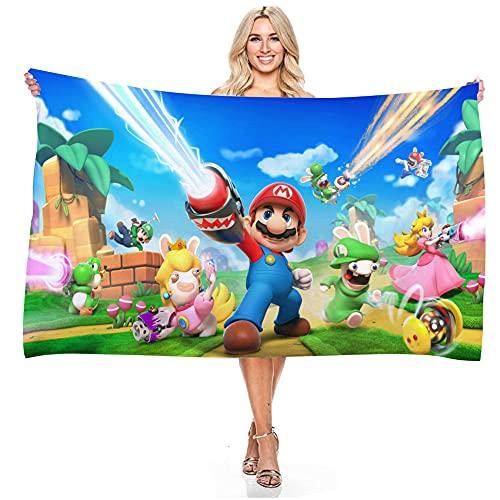 Aatensou Toalla de playa personalizada de Super Mario, 100 % microfibra, suave y cómoda, para natación, camping, fitness (A1,150 x 200 cm)
