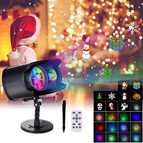 Proiettore Luci Natale LED, FOCHEA Proiettore Lampada LED Esterno & Interno 9 Diapositive e 13 Onde Impermeabile con Telecomando per Decorazioni da Natale, Halloween, Matrimonio, Giardino