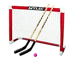 Street hockey set includes two 43-inch Jet Flo sticks, one no-bounce hockey ball, and a goal High-impact PVC tubing and sleeve netting Goal measures 48 by 37 inches (W x D) Assembles easily in minutes Folds for easy storage