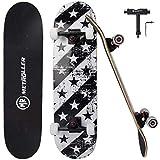 """METROLLER Skateboard, 31""""x 8"""" Complete Standard Skate Boards for Girls, Boys, Beginner, Double"""