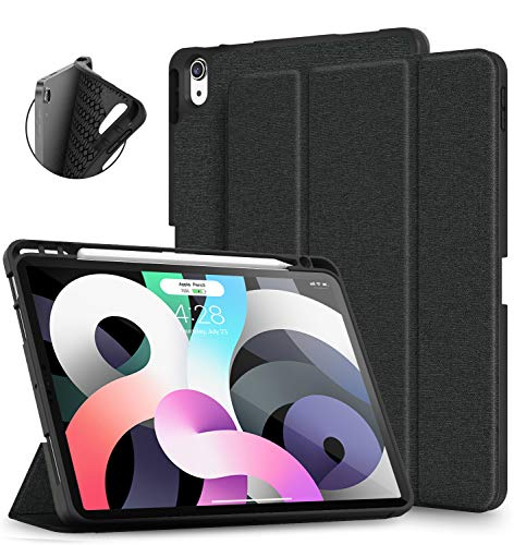 Supveco Compatible with iPad Air 4th Generation Case/for iPad air 4 Case 2020, for New iPad Air 10.9 Cases with Pencil Holder, Lightweight for iPad Case Cover for iPad Air 4th Gen 2020 - Black
