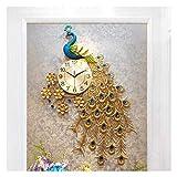 NMDD Relojes de Pared para Sala de Estar Reloj de Pared Moderno, Moderno en 3D con Forma de Pavo Real, Gran Reloj silencioso de Hierro Que no Hace tictac para Sala de Estar, Dormitorio, 60 * 90 cm