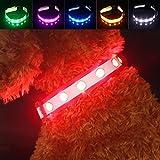 PAWOW Collar de Perro, Collar Perro LED, Collar Mascota, LED de 3 Modos, USB Recargable, Ajustable y Impermeable, Más Visible y Seguro, Tiene un Cable de Carga(Nylon, Rojo)