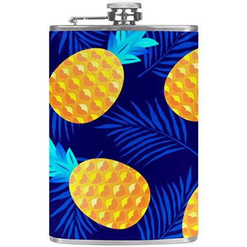 Petaca plana para licor de piña y sandía con embudo, alcohol, whisky, vino, flagón, Mutli02, 9.2x15cm/3.6x6in