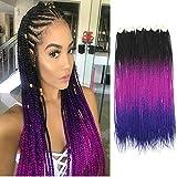 Ombre Box Braids Crochet Hair Braids 24 Inch Medium box braid Kanekalon Synthetic Hair Extensions Pre-Looped Crotchet Box Braids for Women (24 Inch ,Black-Purple-Blue)
