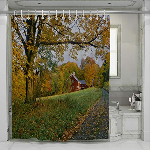 BEISISS Country Shower Curtain,Vermont Country Side of with Autumn Sugar Maple with,Waterproof Polyester Fabric for Bathroom Showers and Bathtubs,66Wx72L